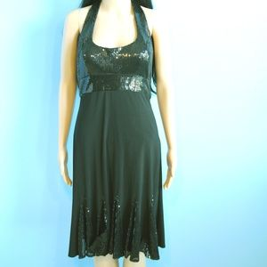 Cachet Black Sequined Flare Cocktail Dress Size 6